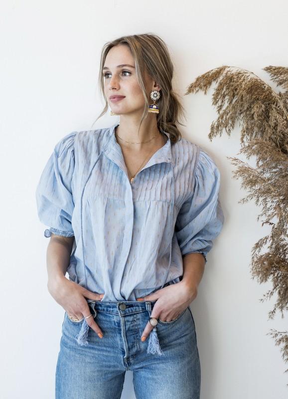 MISSMAYA Cathy Blouse Pale Blue Lurex | SoStyle