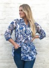 DIA DIA Chiffon Blouse Blue/Grey Flower thumbnail