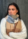 NOMA Big Plaid Scarf Beige Camel Grey thumbnail