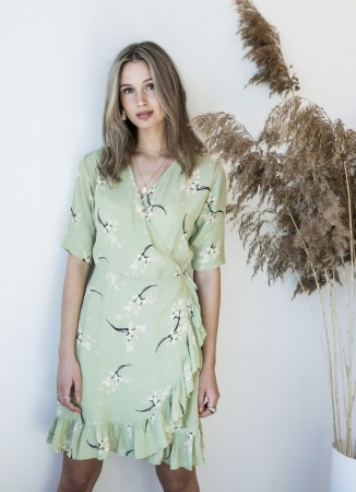 MISSMAYA Irina Wrap Dress Pale Green