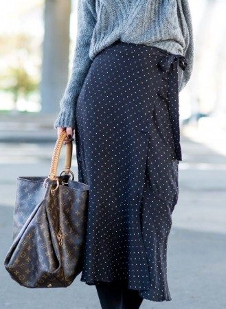 MISSMAYA Wrap Over Skirt Black Dot