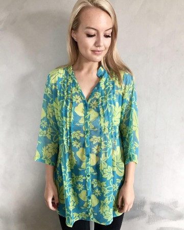 Dia Dia Chiffon Blouse Green Flower