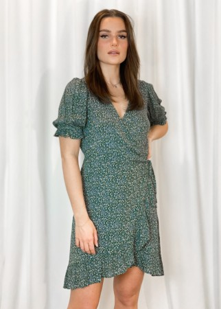 MISSMAYA Irina Dress Puff Sleeve Sea Green