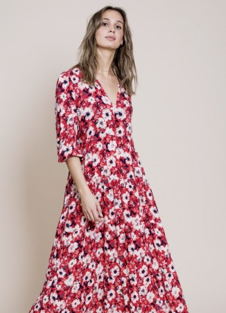 MISSMAYA Sofie Midi Dress Berry Red (PRE-ORDER. Lev: Februar)
