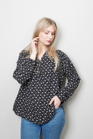 DIA DIA Viscose Shirt Black-White Flower