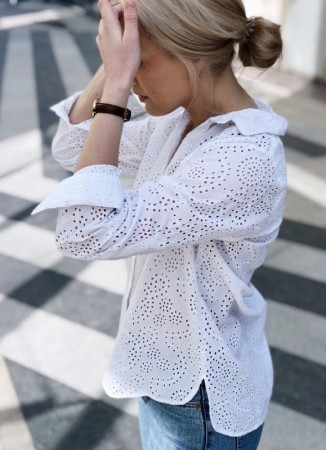 MISSMAYA Embroidered Shirt White