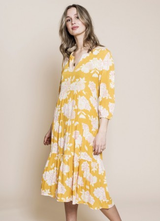 MISSMAYA Sofie Midi Dress Yellow Breeze