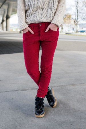 PLEASE JEANS Red Flame Velour Jeans