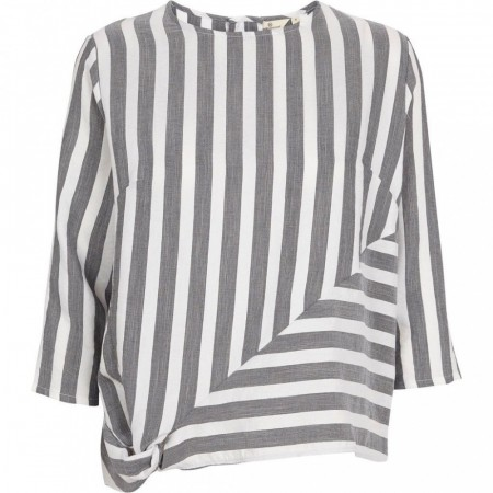 BASIC APPAREL Vacation Blouse Black Stripe