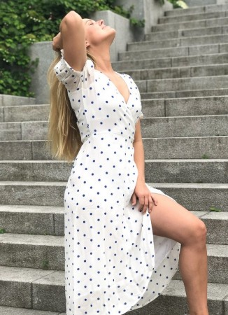 MISSMAYA Tanya Midi Dress Blue Dottie