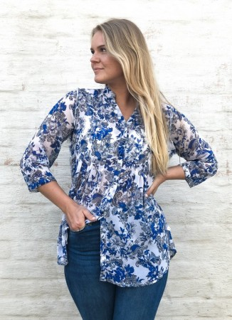 DIA DIA Chiffon Blouse Blue/Grey Flower