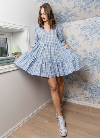 MISSMAYA Sofie Mini Dress Blue Gingham (PRE-ORDER: Lev. Mai)