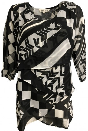 Dia Dia Top Black-White Geometric Print