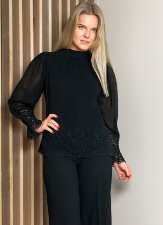 MISSMAYA Ariel Blouse Black Border Embroidery