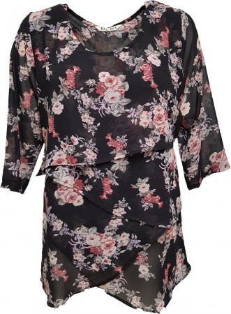 Dia Dia Top Black-Rose Flower Print