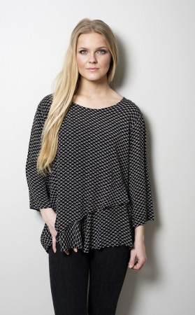 Dia Dia Top Black-White Square Print
