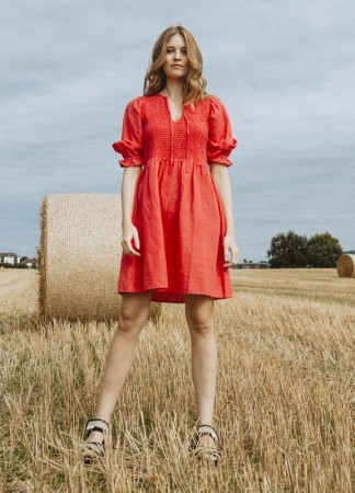 MISSMAYA Benita Dress Linen Rouge
