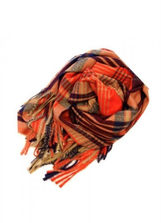NOMA Plaid Scarf Orange Blue Beige