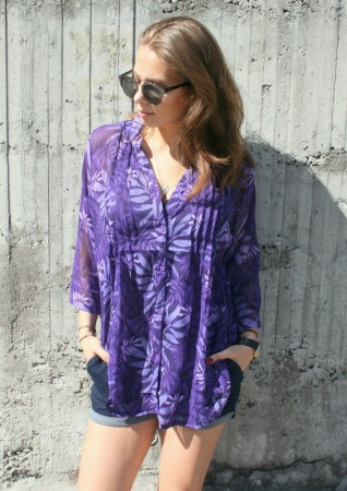 Dia Dia Chiffon Blouse Purple Flower