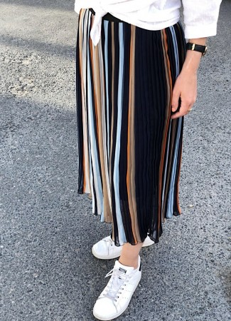 MISSMAYA Pleated Skirt Stripe