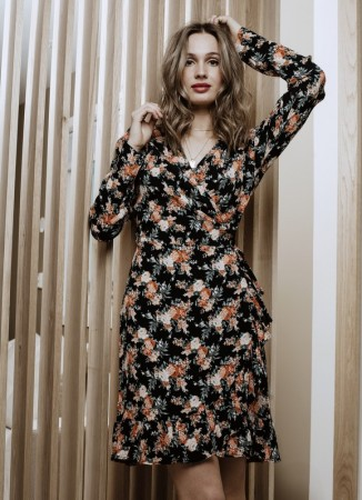 MISSMAYA Saina Wrap Dress Peach Bloom