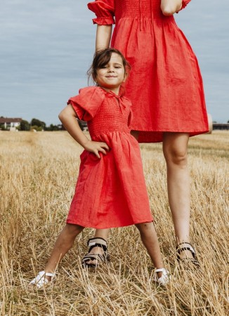 MISSMAYA GIRL Benitagirl Dress Linen Rouge