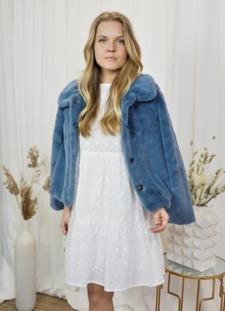 ELLA&IL Anna Fake Fur Jacket Blue