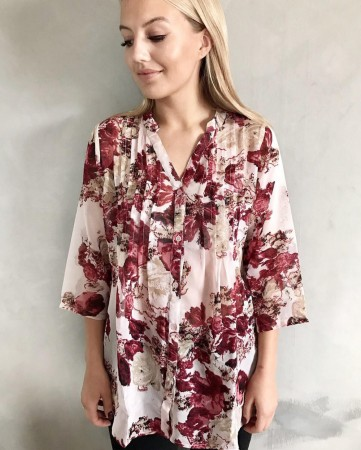 Dia Dia Chiffon Blouse Red/Pink Flower