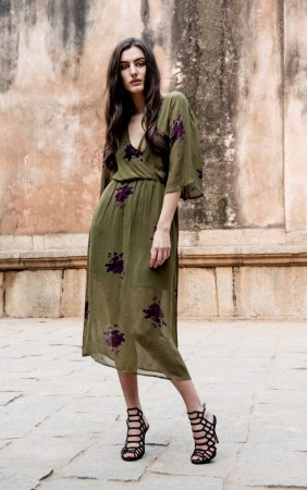 MISSMAYA Mina Long Dress Army Flower