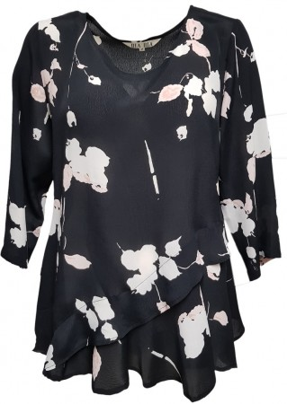 DIA DIA Viscose Crepe Blouse Black Flower