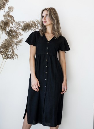 MISSMAYA Angela Dress Linen Black
