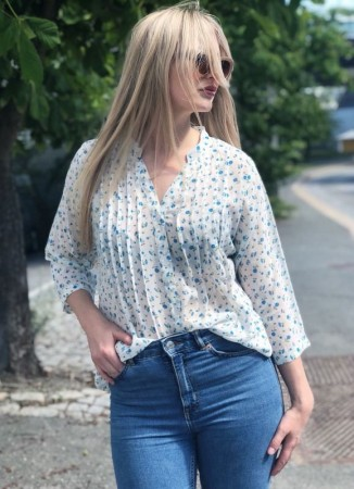 DIA DIA Chiffon Blouse Pale Blue Flower