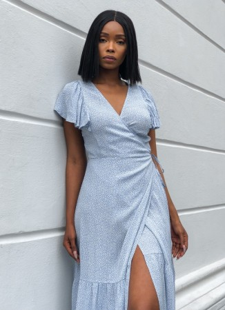 MISSMAYA Valeria Wrap Dress Sky Blue
