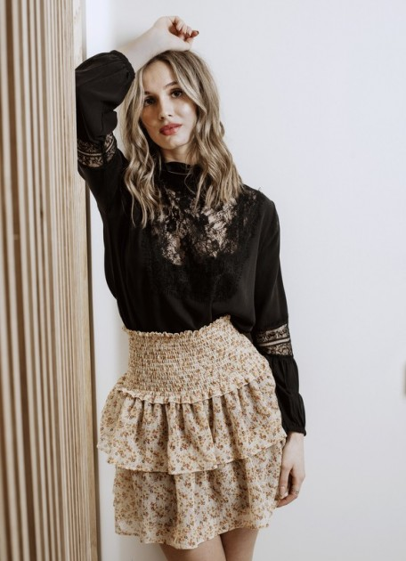 MISSMAYA Lillian Blouse Black Lace